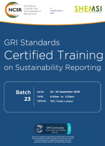 GRI Standards Certified Training Sustainability Reporting September 2020 KL