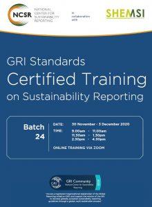 Online GRI Standards Certified Training 30 Nov - 3 Dec 2020