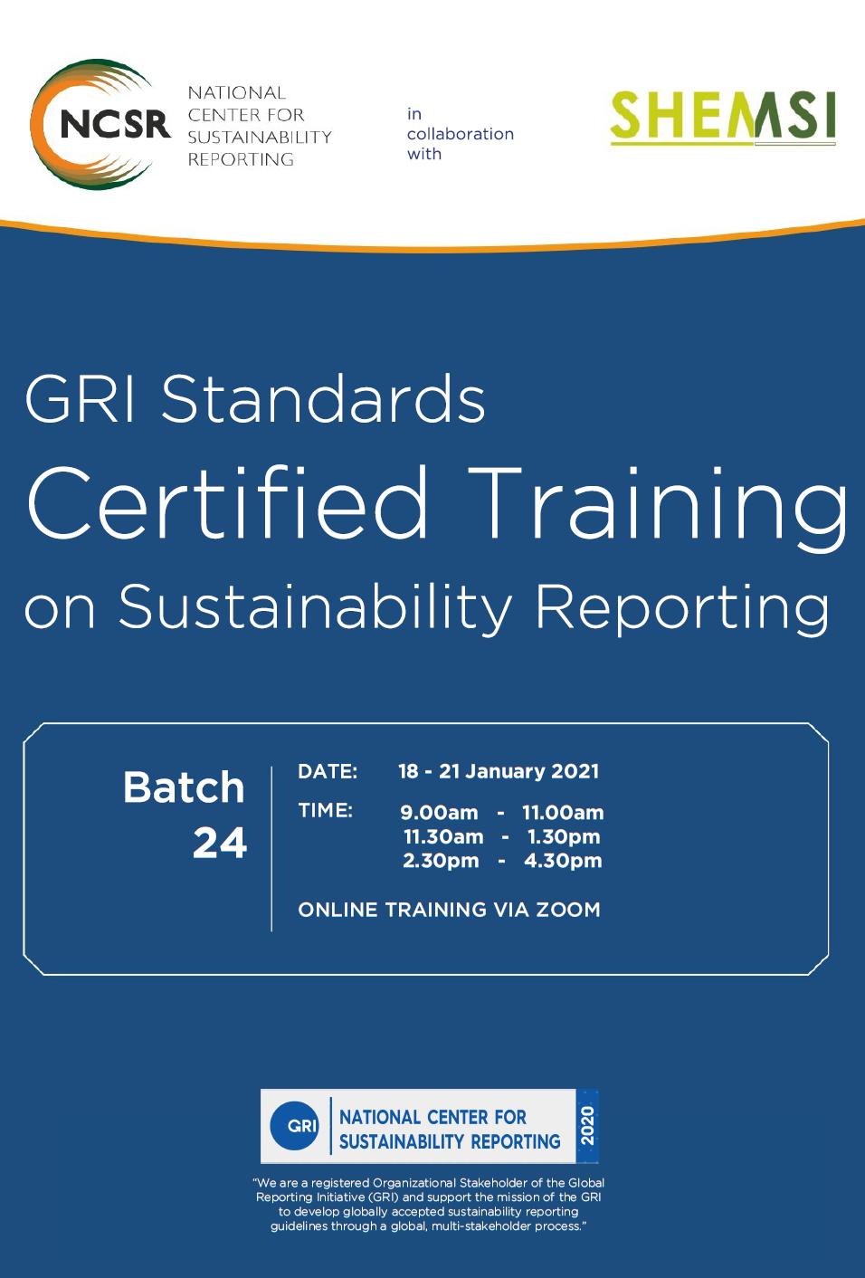 GRI Standards Certified Training,18 - 21 Jan 2021 Malaysia